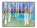 Par le bois, 18X24, aquarelle, pastel et souffleurs,1999