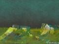 Marine au couteau 2, Pastel, aquarelle et acrylique